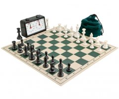 Complete Tournament Folding Chess Set Green