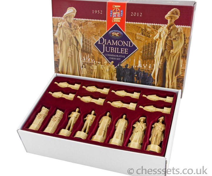 Official HM The Queen's Diamond Jubilee Chess Set Undecorated - Click Image to Close