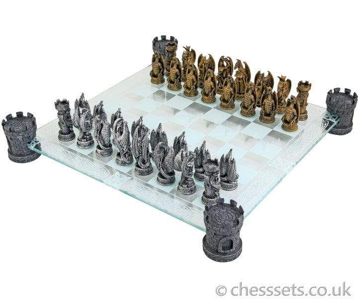Kingdom of the Dragon Glass Chess Set - Click Image to Close