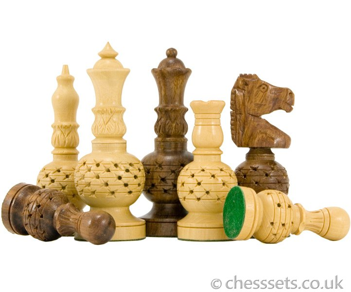 Mogul Fretwork Hand Carved Chess Pieces in Sheesham - Click Image to Close