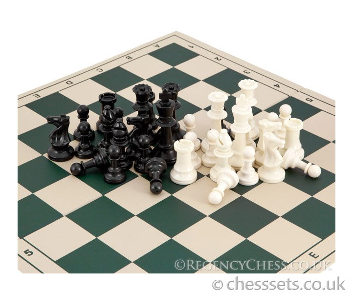 School Tournament Folding Chess Set in Green - Click Image to Close