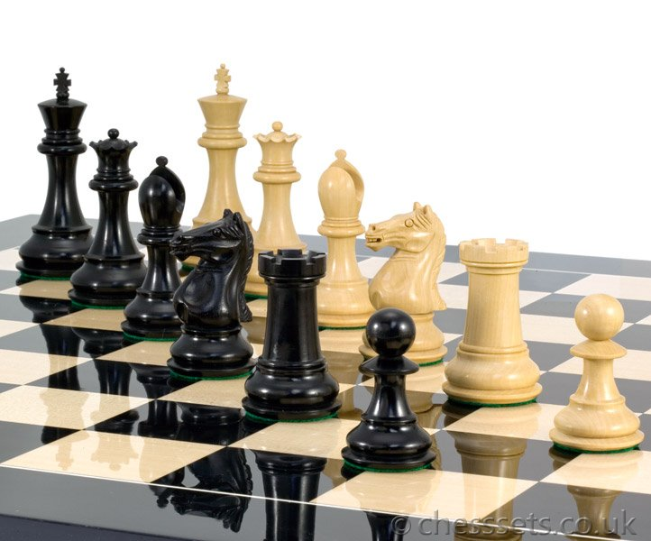 Sentinel Grand Ebony & Black Anegre Chess Set - Click Image to Close