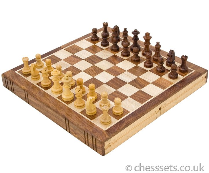 Bookend Style Sheesham & Maple Chess Set - Click Image to Close