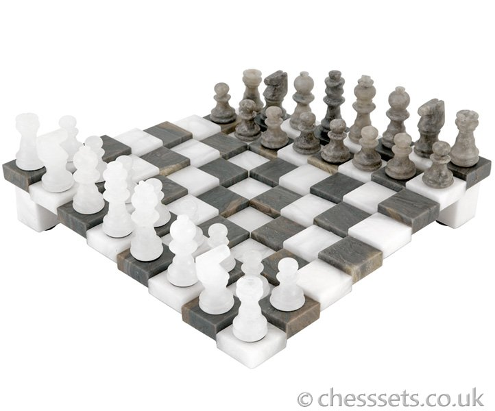 3 Dimensional Grey and White Alabaster Chess Set 9 Inches - Click Image to Close