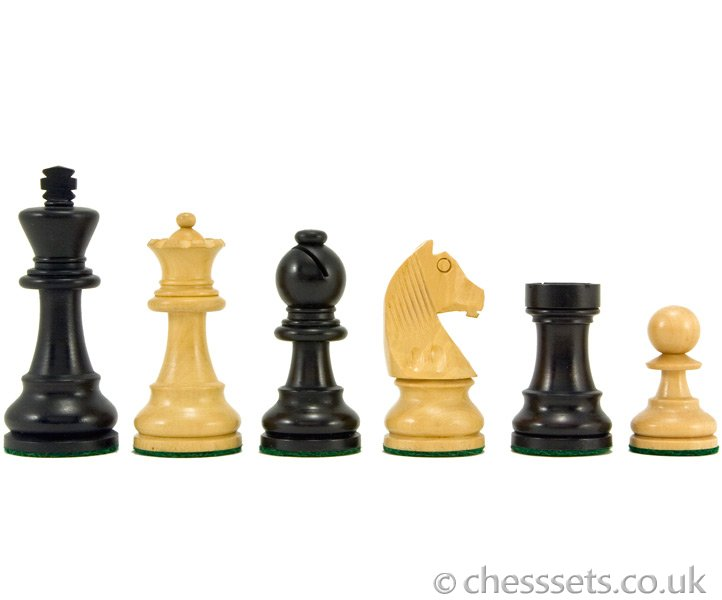 Down Head Ebonised Staunton Chess Pieces 3 Inches - Click Image to Close