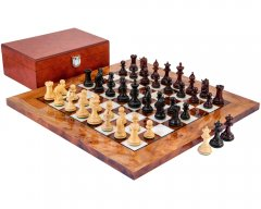 Corinthian Tres Corone Ebony & Red Sandalwood Chess Set