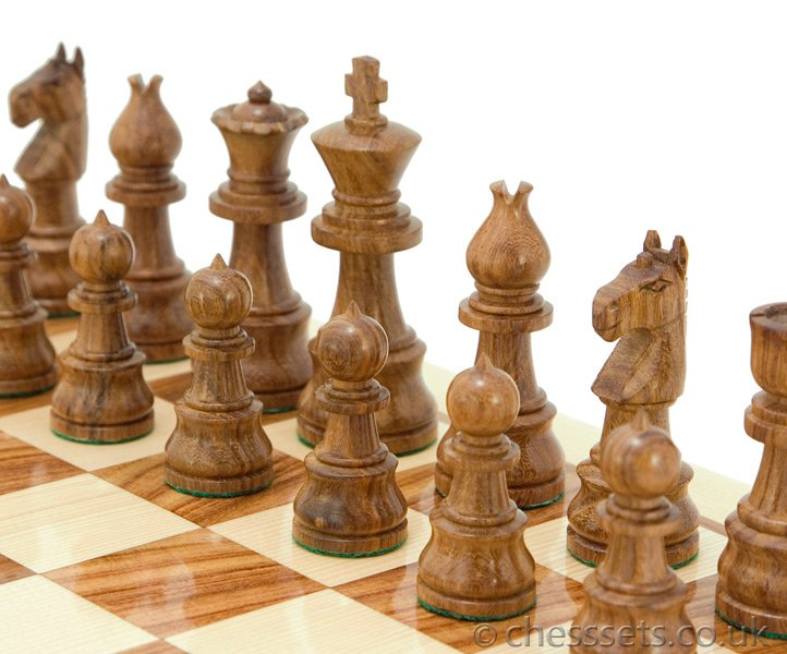 Opus Sheesham & Boxwood Chess Pieces - Click Image to Close