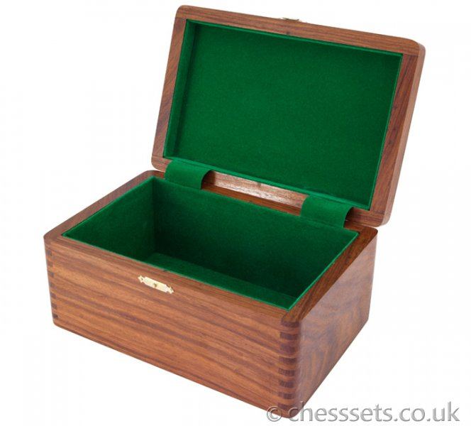 Polished Sheesham Chess Case with Hinged Lid