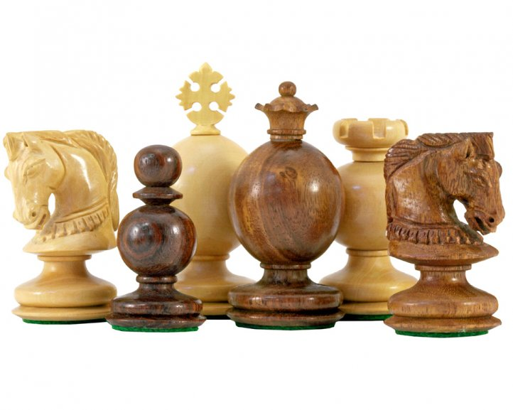 Easter Design Sheesham Carved Chess Pieces 3 1/4 Inches - Click Image to Close