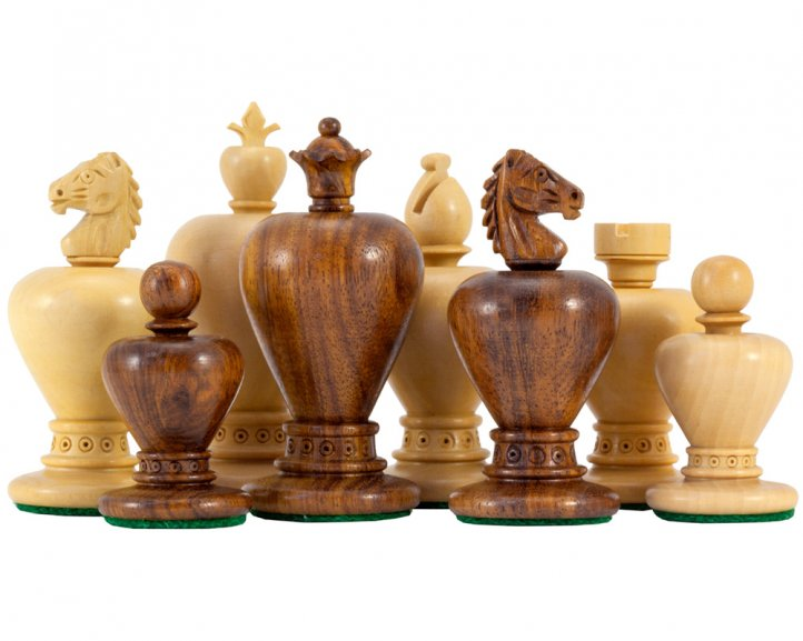 Apple Design Sheesham Carved Chess Pieces 3.5 Inches - Click Image to Close
