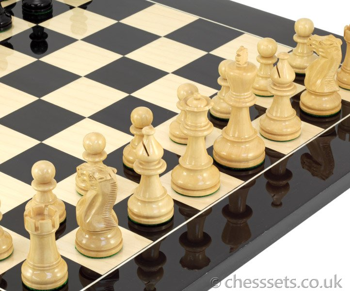 Atlantic Black Gloss & Maple Chess Set - Click Image to Close