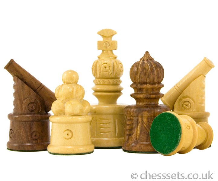 Cannon Hand Carved Chess Pieces in Sheesham - Click Image to Close