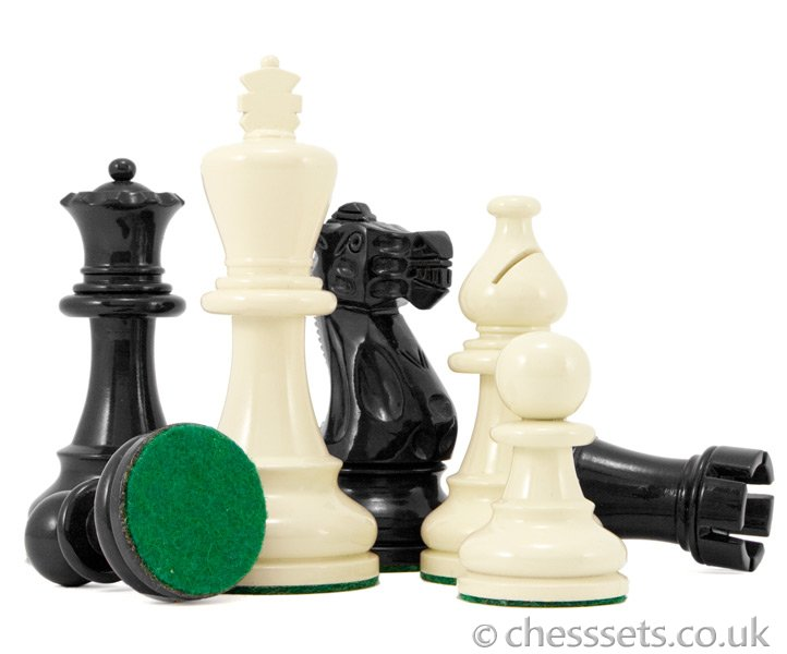 Atlantic Black & Cream Gloss Lacquered Chess Pieces - Click Image to Close