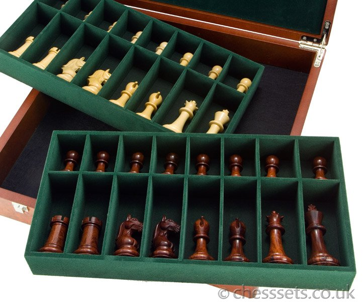 Root Wood Burl Luxury Compartment Chess Piece Case - Click Image to Close