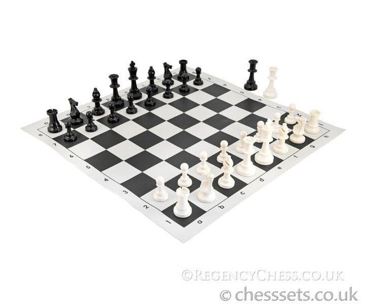 School Tournament Chess Set in Black - Click Image to Close