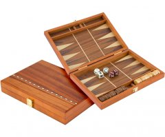 Compact Maghogany Travel Backgammon Set with Walnut Inlay