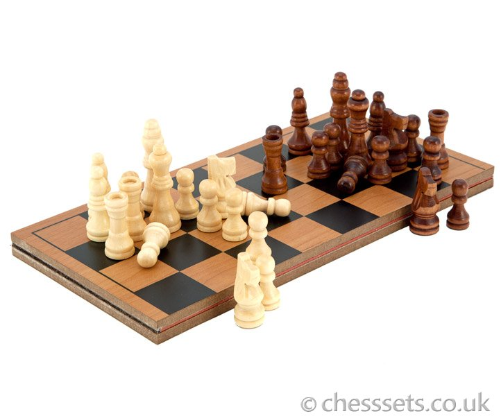 Compact Folding Wooden Travel Chess Set - Click Image to Close