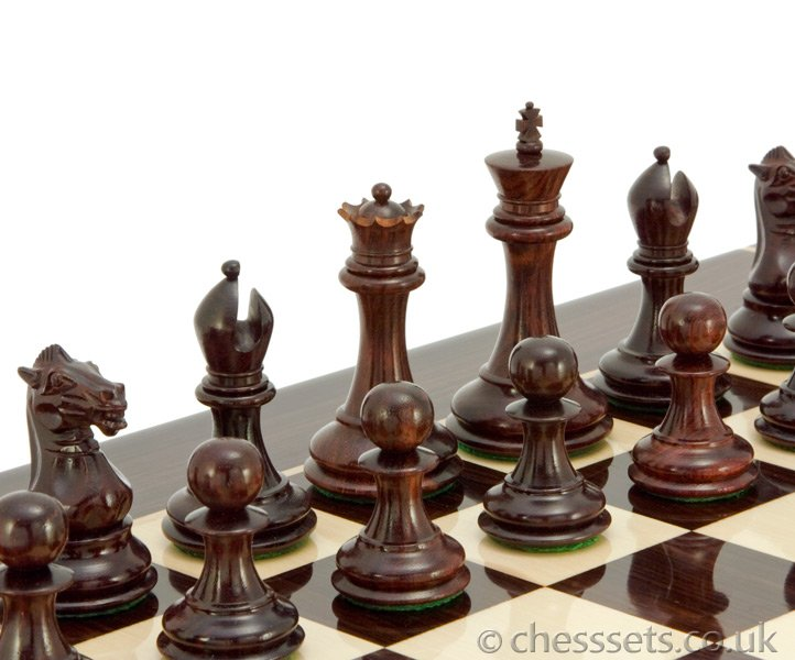 Sovereign Series Red Sandalwood Staunton Chess Pieces - Click Image to Close