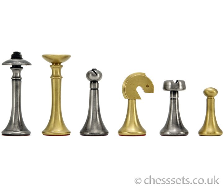 Metropolis Brass & Nickel Chess Pieces - Click Image to Close