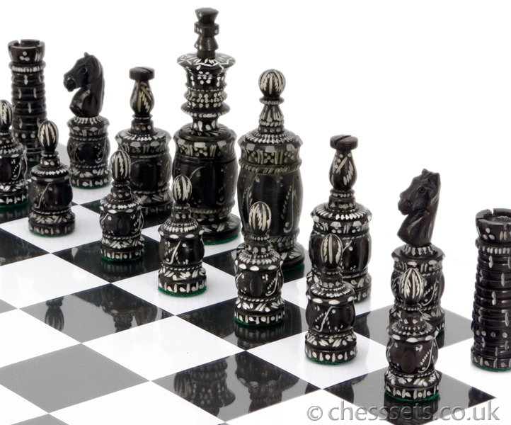 Barley Corn Hand Carved Camel Bone Chess Pieces - Click Image to Close