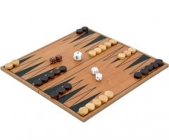 Compact Folding Wooden Backgammon Set