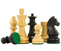 Down Head Ebonised Staunton Chess Pieces 2 1/2 Inches