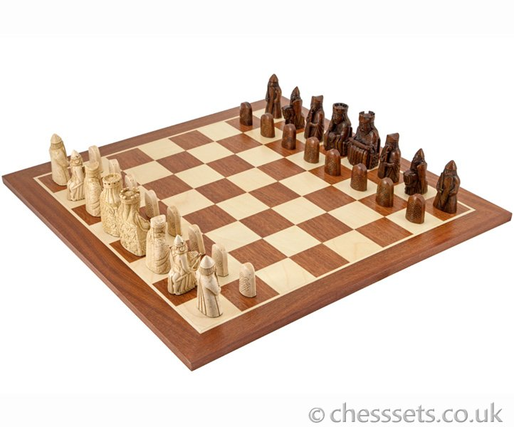 The Isle Of Lewis Large Mahogany Chess Set - Click Image to Close