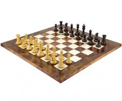 Old English Elite Ebony & Briarwood Chess Set