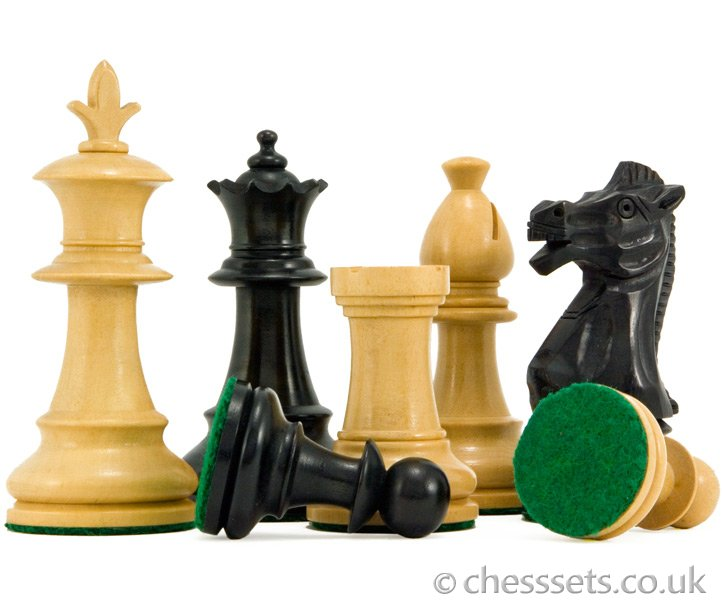 Flower Series Ebonised Boxwood Staunton Chess Pieces - Click Image to Close