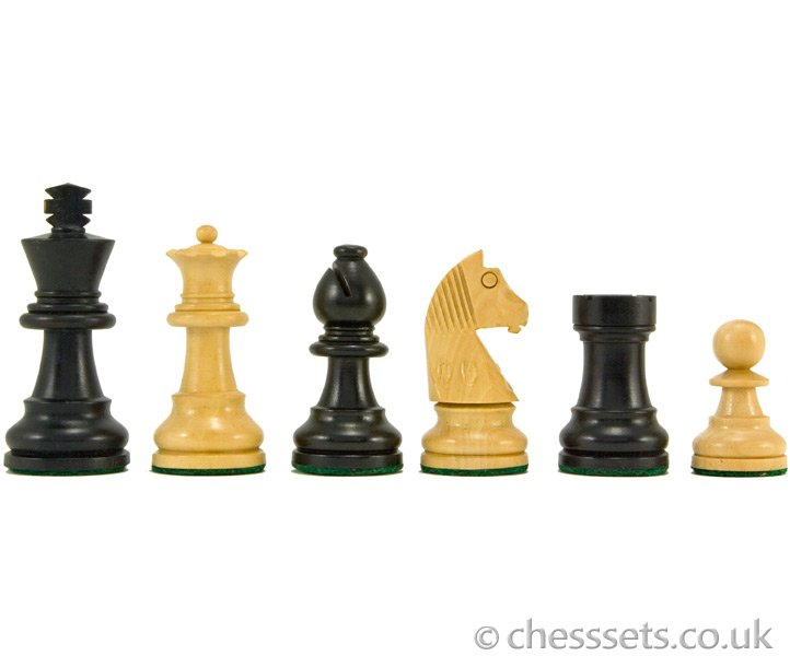 Down Head Ebonised Staunton Chess Pieces 2 1/2 Inches - Click Image to Close