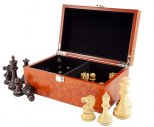Root Wood Burl Chess Piece Case with Hinged Lid Medium