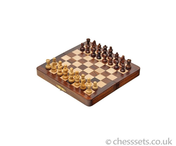 Compact Sheesham & Maple Magnetic Chess Set - Click Image to Close
