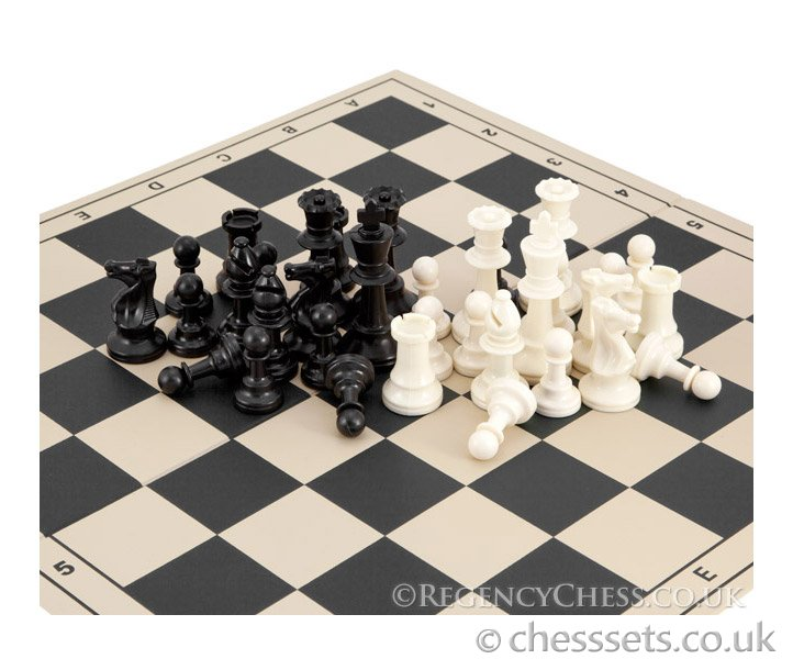 School Tournament Folding Chess Set in Black - Click Image to Close
