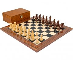 Supreme Rosewood Chess Set With Burl Wood Case