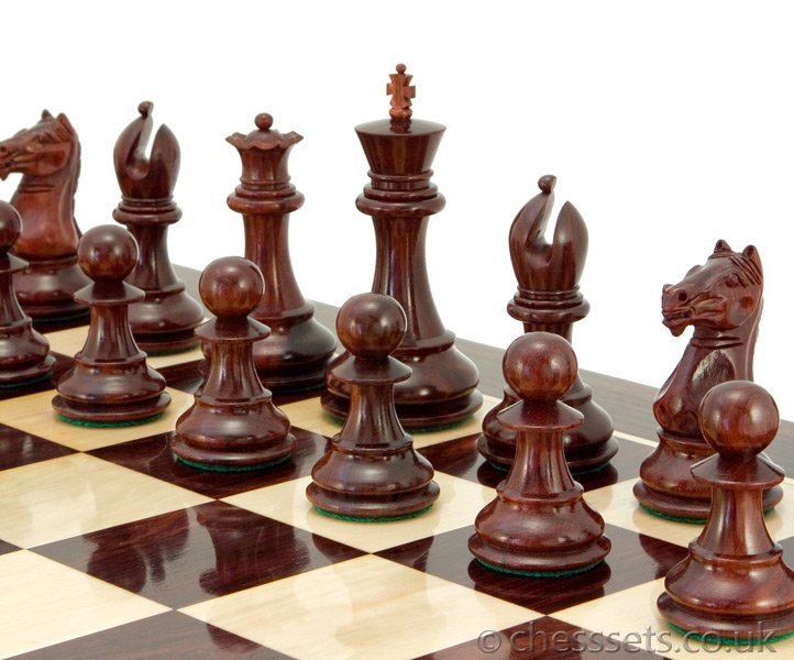 Sentinel Series Red Sandalwood Staunton Chess Pieces - Click Image to Close