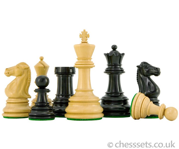 Cheltenham Series Ebony and Boxwood Chess Pieces - Click Image to Close