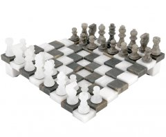3 Dimensional Grey and White Alabaster Chess Set 9 Inches