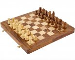 12 Inch Sheesham, Boxwood and Maple Magnetic Folding Chess Set