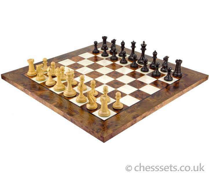 Old English Elite Ebony & Briarwood Chess Set - Click Image to Close