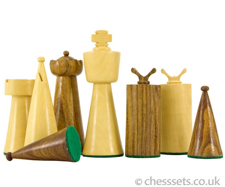Art Deco Sheesham and Boxwood Chess Pieces - Click Image to Close