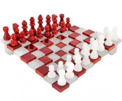 3 Dimensional Red and White Alabaster Chess Set 9 Inches