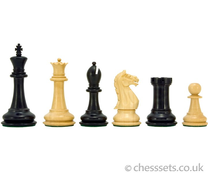 Oxford Series Ebonised Boxwood Chess Pieces - Click Image to Close