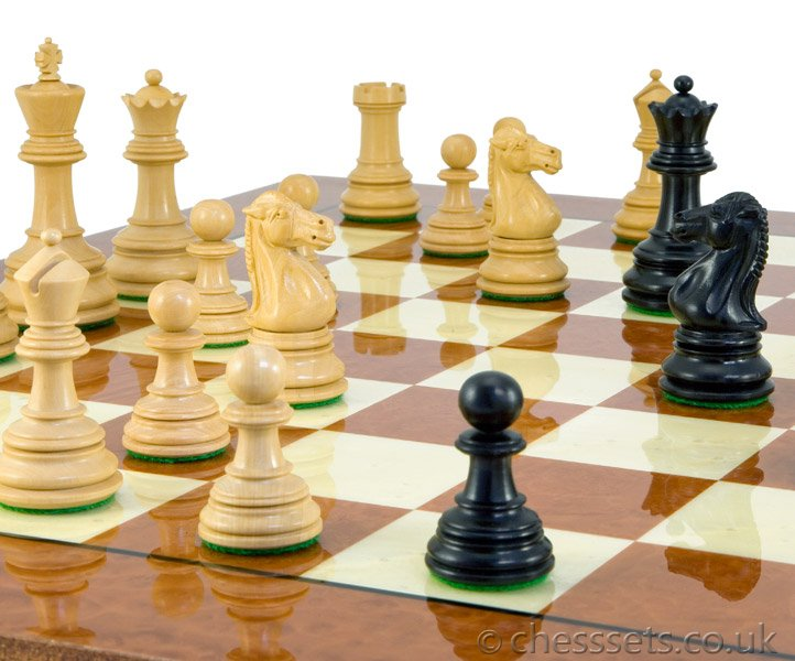 Cheltenham Ebony & Rootwood Grand Chess Set - Click Image to Close