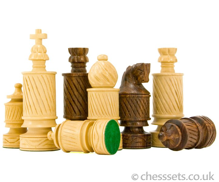 Coiled Jerusalem Hand Carved Sheesham Chess Pieces - Click Image to Close