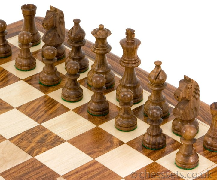 Down Head Sheesham Staunton Chess Pieces 3 Inches - Click Image to Close