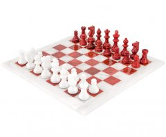 Red and White Alabaster Chess Set 14 Inches