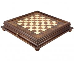 Briarwood & Elm Chess Cabinet with Drawer 20 Inches