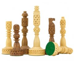 Tower Hand Carved Sheesham & Boxwood Chess Pieces
