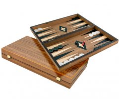 Manopoulos Walnut and Maple Backgammon Set