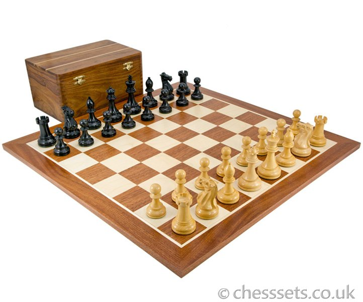 Competition Staunton Black and Sheesham Chess Set with Case - Click Image to Close
